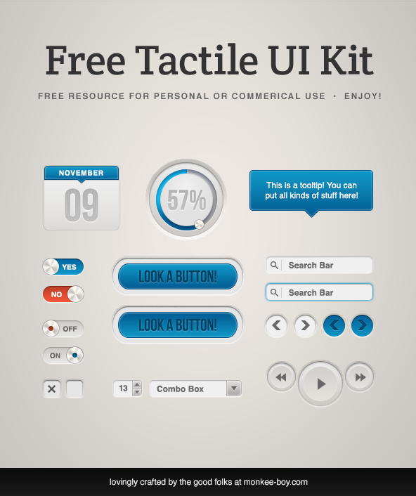 Free_Tactile_UI_Kit_by_Nikki_Clark_Hampson in 35 Fresh, Free and Flat UI Kits