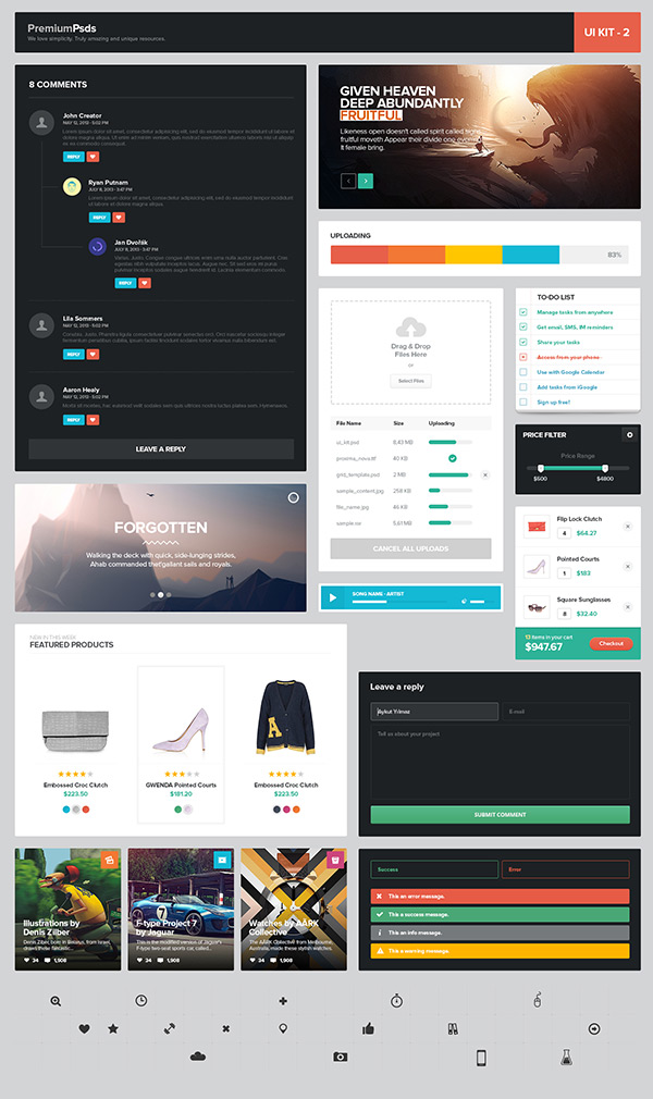 Freebie Psd - UI Kit 2 by Aykut Yılmaz in 35 Fresh, Free and Flat UI Kits