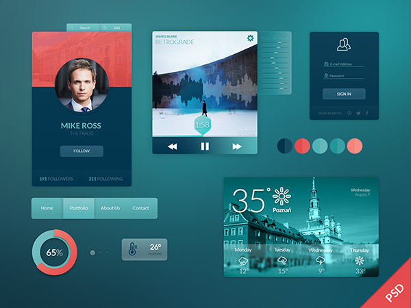 UI Kit by Patryk Adaś in 35 Fresh, Free and Flat UI Kits