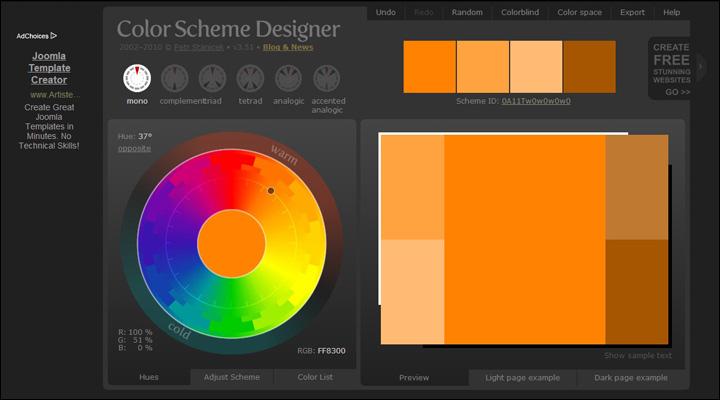 12个适合设计师的在线色彩搭配工具