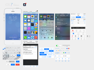 iOS7 Ui Kit by GUI in 35 Fresh, Free and Flat UI Kits