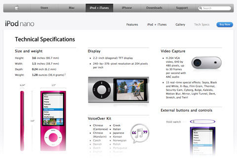 iPod marketing page