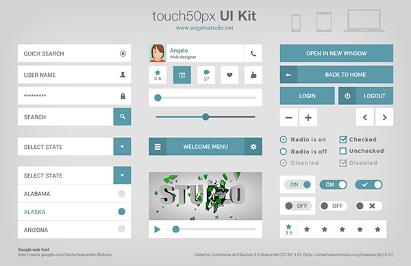 touch50px UI Kit by Angelo in 35 Fresh, Free and Flat UI Kits