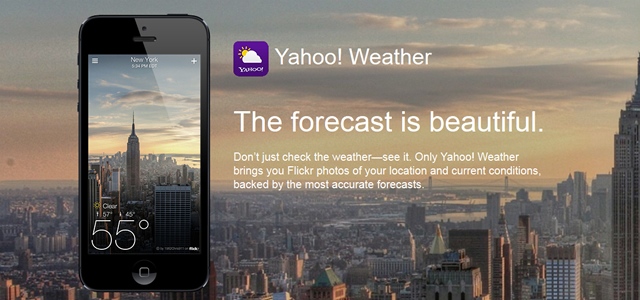 Yahoo! Weather mobile app photographic weather