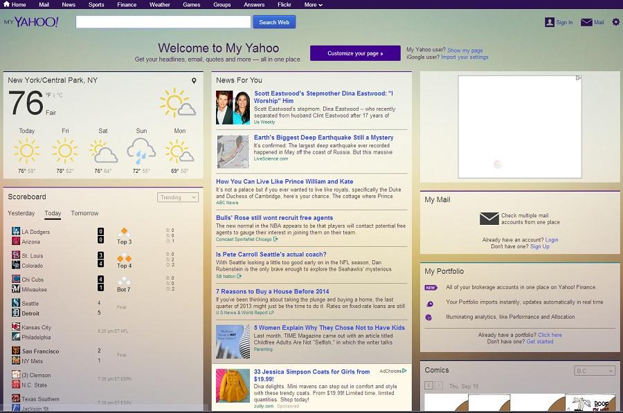 雅虎更新My Yahoo主页:更具现代感