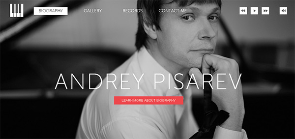 Andrey Pisarev in Collection of 50 Modern Websites in Dark Style