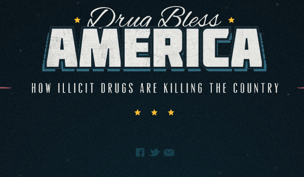 Drug Bless America in Collection of 50 Modern Websites in Dark Style