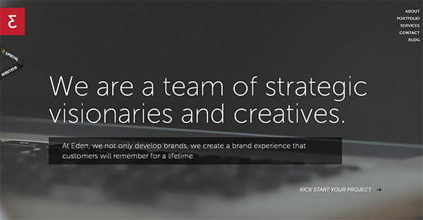 Eden Creative in Collection of 50 Modern Websites in Dark Style