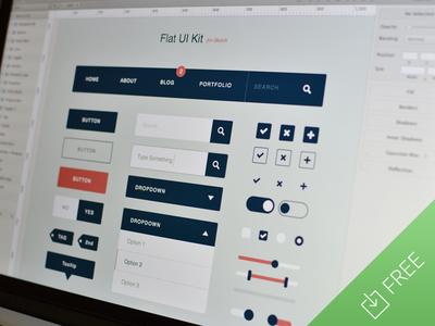 Flat Ui Kit for Sketch by Medialoot in 27 Fresh UI Kits for October 2013