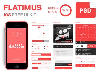 Flatimus iOS Free UI Kit by Satys in 27 Fresh UI Kits for October 2013