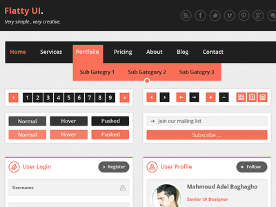 Flatty Ui Kit Free PSD by Mahmoud Adel Baghagho in 27 Fresh UI Kits for October 2013