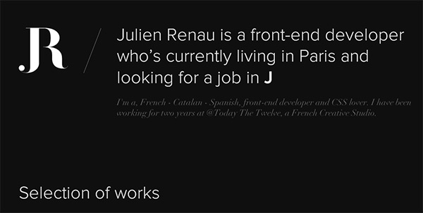 Julien Renau in Collection of 50 Modern Websites in Dark Style