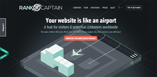 RankCaptain in Collection of 50 Modern Websites in Dark Style