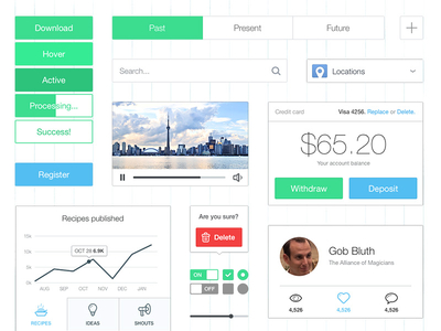 Thin & Bright UI Kit by Dawson Whitfield in 27 Fresh UI Kits for October 2013