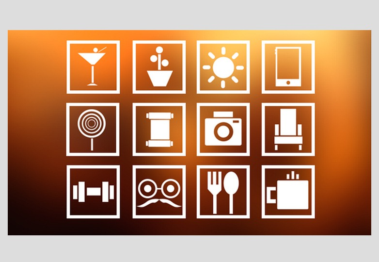 Square Lifestyle Icon Set