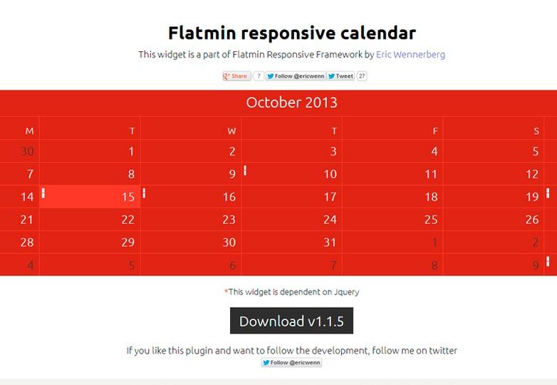 Flatmin jQuery Calendar