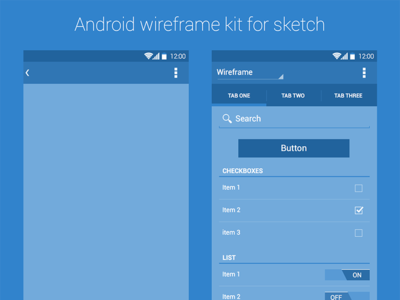 Android Wireframe Kit by Rodrigo Soares in 50 Free Wireframe Kits and Web Apps