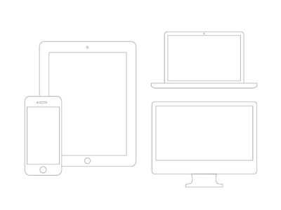 Device Wireframes by Chris Thompson in 50 Free Wireframe Kits and Web Apps