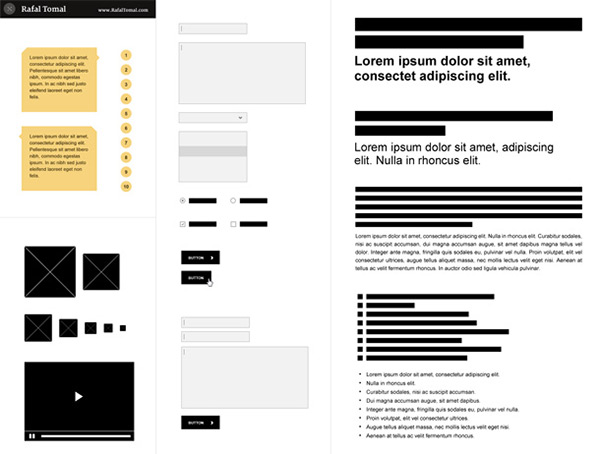 Free Photoshop Wireframe Kit in 50 Free Wireframe Kits and Web Apps