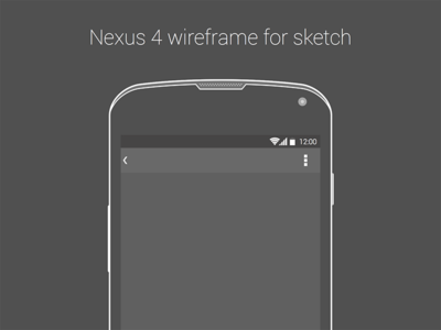 Nexus 4 Wireframe for .Sketch by Rodrigo Soares in 50 Free Wireframe Kits and Web Apps