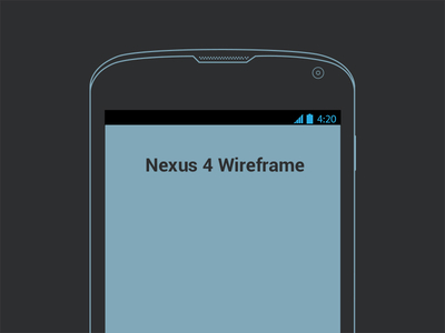 Nexus 4 wireframe by Oleg Stirbu in 50 Free Wireframe Kits and Web Apps