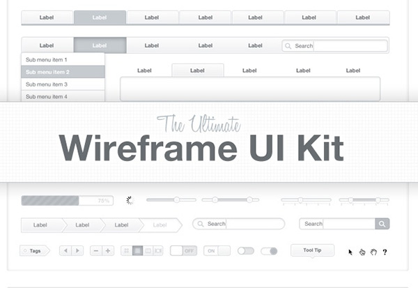 The Ultimate Wireframe UI Kit in 50 Free Wireframe Kits and Web Apps