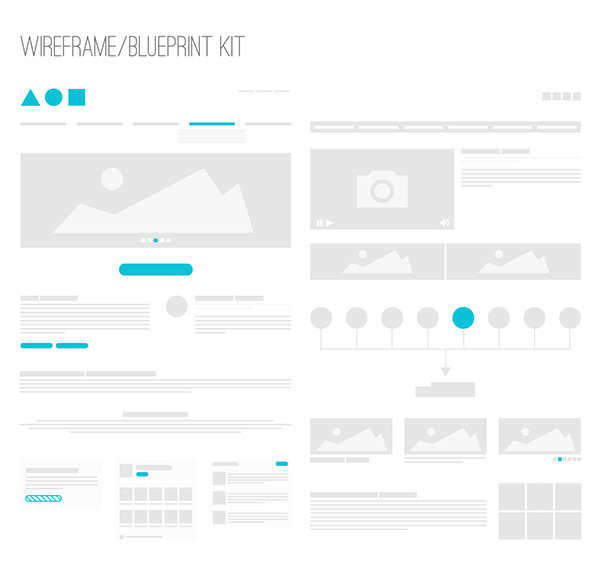 Wireframe / Blueprint Kit by Kai Husen in 50 Free Wireframe Kits and Web Apps