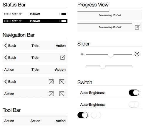 iOS 7 Wireframe Kit by Blake Perdue in 50 Free Wireframe Kits and Web Apps