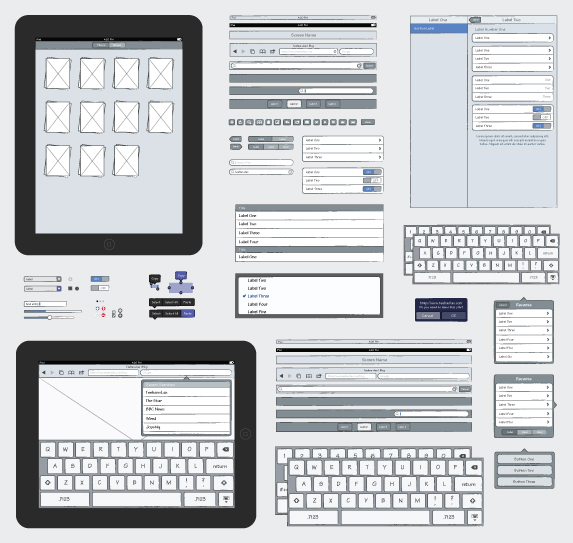 iPad Sketch Elements AI in 50 Free Wireframe Kits and Web Apps