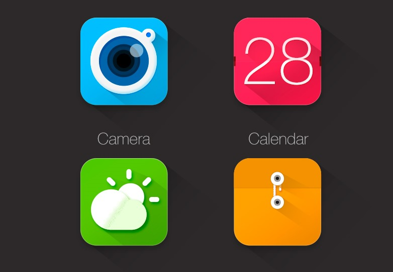 Long Shadow app icons