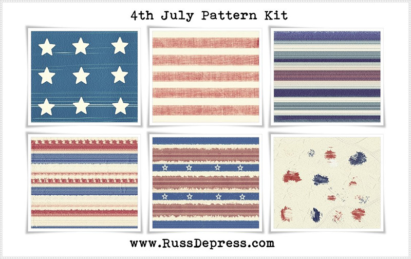 4 of july stars and stripes pattern kit by RussDepress in 30+ New Photoshop Pattern Sets