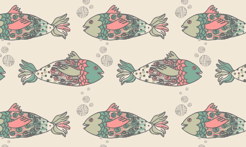 Cute doodle free fish patterns