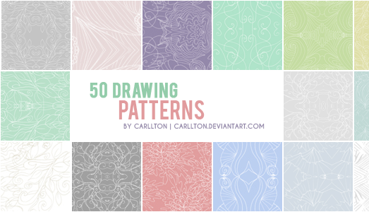 50 Drawing Patterns by Carllton in 30+ New Photoshop Pattern Sets