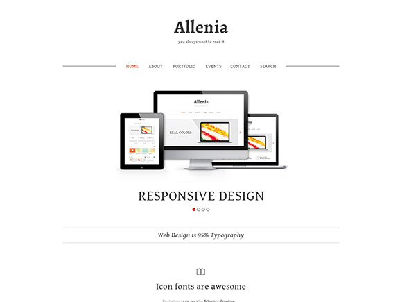 Allenia in 30 Fresh and Free PSD Website Templates