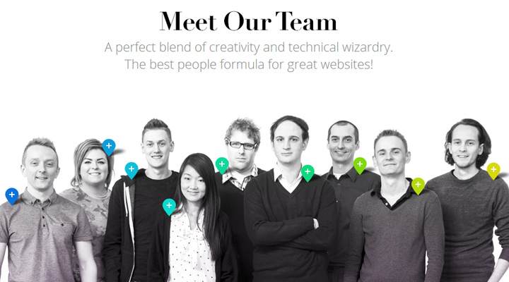our team castus website layout employees custom ui