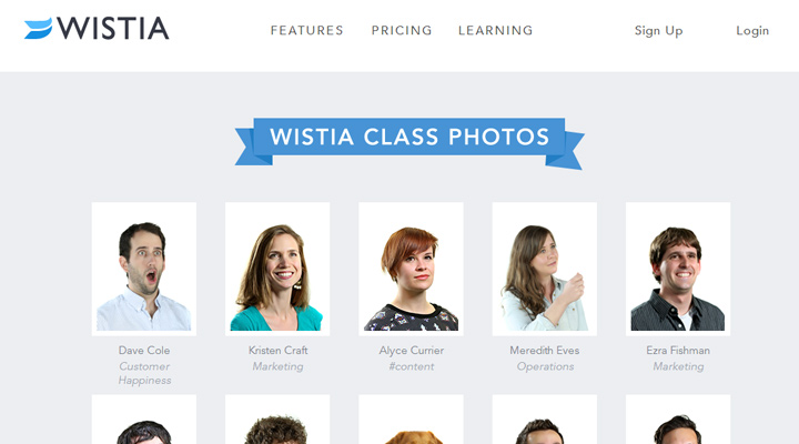 wistia website webpage layout inspiring team design