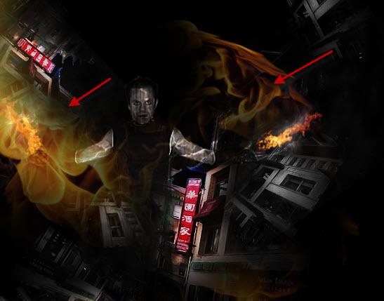 4 paste big fire Create Unleash the Dark Power Surreal Scene in Photoshop