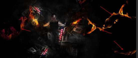 5 more fire 550x232 Create Unleash the Dark Power Surreal Scene in Photoshop