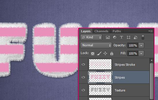 PS教程:创建可爱的毛茸茸条纹文字效果