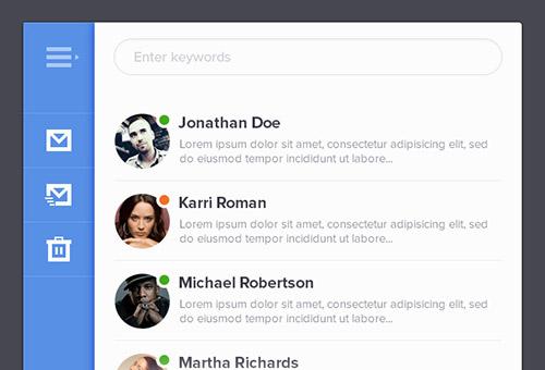 instantShift - Beautiful Email App UI PSD Designs