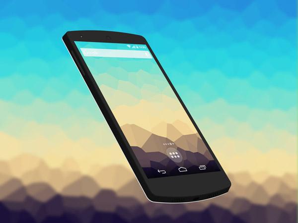 Flat Nexus 5 3D Free PSD