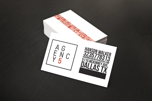 AGENCY5 Business Card Design by Hanson Walker in Showcase of 50 Creative Business Cards