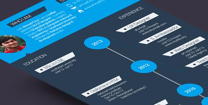 简历新玩法!10个创新的扁平风简历页面设计