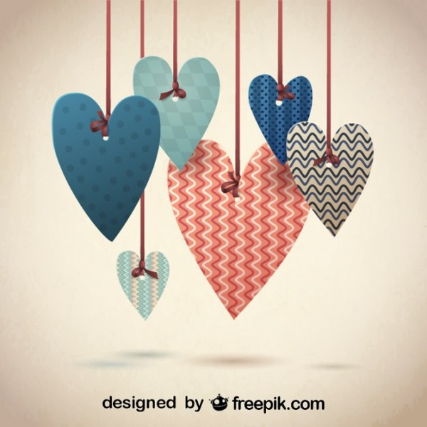Retro Lovely Hearts Design for Valentine's in 16 Valentine's Day Design Freebies