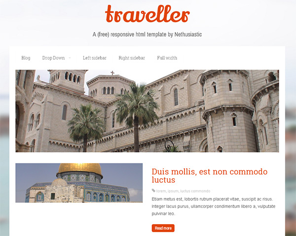 Traveller in 23 Free HTML Templates