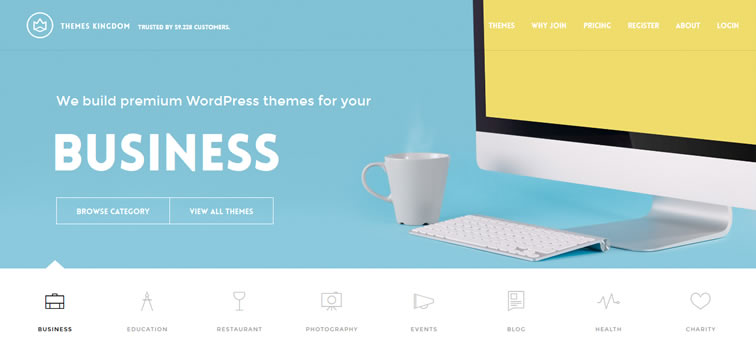 Themes Kingdom homepage clean web design modern responsive web inspiration