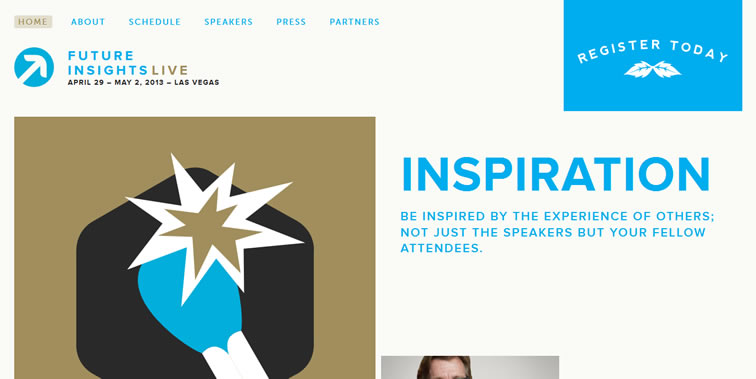 Future Insights Live 2013 homepage clean modern responsive web inspiration