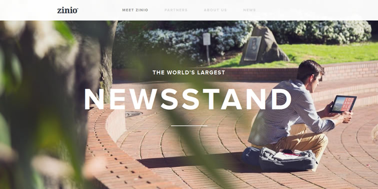 Zinio homepage clean modern responsive web inspiration