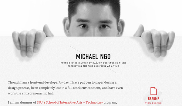 Michael Ngo in Showcase of Creative Personal Portfolio Websites