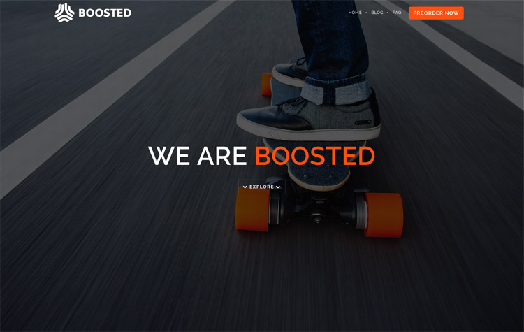The Boosted Boards homepage as a web design example of a beautiful homepage